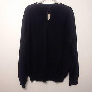 J. Crew Black Cotton-Cashmere V Neck Sweater XL